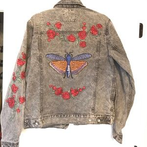 BDG butterfly and rose embroidered jacket S NWOT